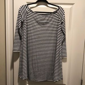 Black and white striped shift dress